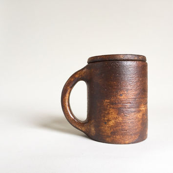 LIDDED MUG Coffee Rustic Brown 12 oz, ceramic, pottery, handmade, coffee, tea, hot, cocoa, chocolate, milk, water, chai, latte, juice, beer