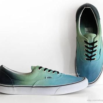 Turquoise, green Vans Era, ombr¨¦ dip dye skate shoes, upcycled vintage sneakers, casua