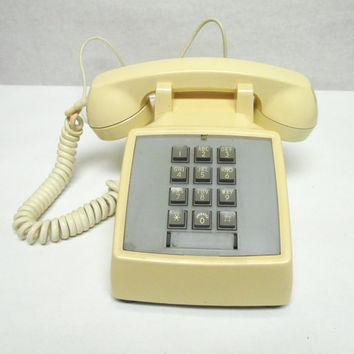 80's Ivory Tan Telephone Pushbutton Desktop Phone