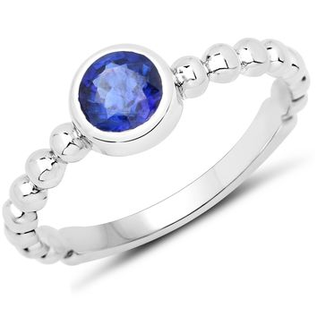 LoveHuang 0.59 Carats Genuine Kyanite Stacking Ring Solid .925 Sterling Silver With Rhodium Plating