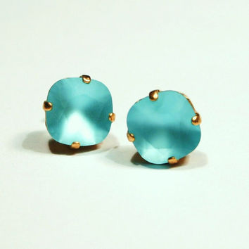 Matte Turquoise Crystal Studs