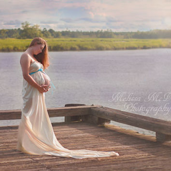 Jade Maternity Dress, Maternity Gown. Maternity Photo Props , Jersey Maternity Gown