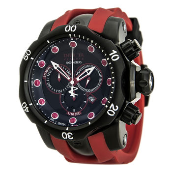 Invicta 80766 Men's Venom Reserve Chronograph Black Dial Red Rubber Strap Dive Watch