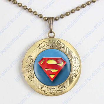 superman locket necklace, superhero pendant, Christmas gift superman vintage pendant locket necklace gift superhero necklace