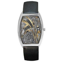 Art Deco Silver/ Gold Design on a Barrel Watch with Leather Band