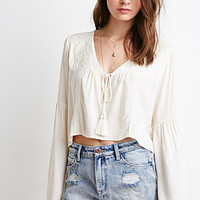 Lace-Hemmed Denim Cutoffs