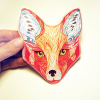 Red Fox face animal sticker New on teva gallery by TevaGallery