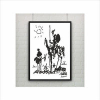 Pablo Picasso Art Paintings / Don Quixote Print / US Letter - A4 up to A0 size / Minimalist Art / Black and White Sketches / Kids Room Decor