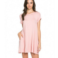 Pretty in Chic Trapeze Shift Pockets Dress-Blush
