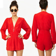 Red V-Neck Long Sleeved Romper