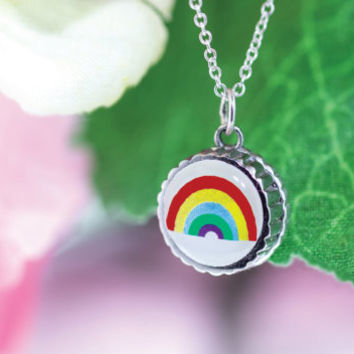 Rainbow pendant, interchangeable necklace, kids jewelry, silver pendant