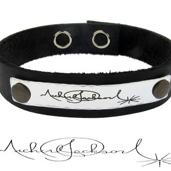 Hand Written Name or Message Wristband / Signature Engraved Mens Bracelet / Custom Jewelry