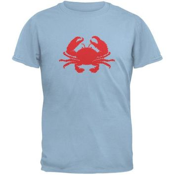 DCCKJY1 Summer - Crab Faux Stitched Light Blue Adult T-Shirt