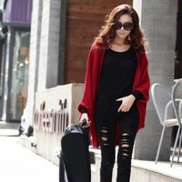 Wholesale Simple and Elegant Bat-Wing Sleeves Blended Cashmere Shawl For Women (DARK GREY,ONE SIZE), Jackets & Coats - Rosewholesale.com