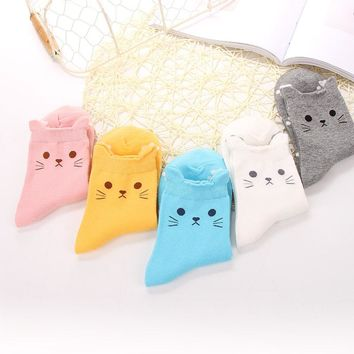 Fashion Candy Color Cute Cat Women Girl Cotton Socks Korean Tube Harajuku Funny Casual Cheap Novelty Art Vintage White Yellow