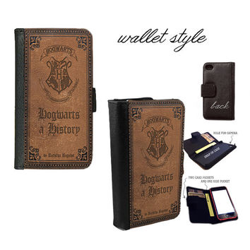 Hogwarts a History Harry Potter handbook Smartphone case for iphone 4 4s 5 5s 5c 6 plus Galaxy S3 S4 S5 (plastic snap on, leather wallet)