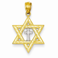 14 Yellow Gold Star of David with Cross Pendant