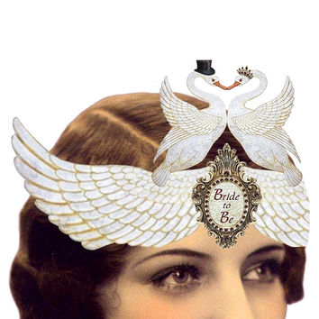 Heart the Moment Greeting Card - Bride to Be Swans Wearable Card/Tiara