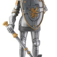 Crusader Knight with Axe and Shield Statue 8.5H