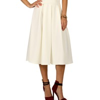Sale-ivory Pleated Midi Skirt