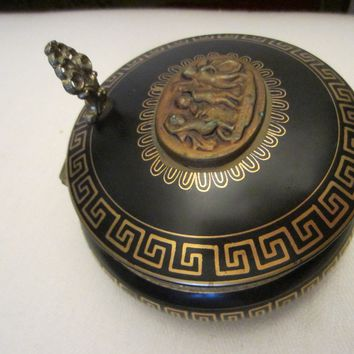 Arnart Porcelain Beehive Covered Ashtray Gilt Decorated Bronze Flip Handle