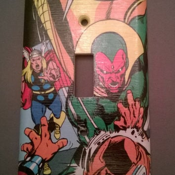 Comic Book superhero Avengers The Vision and Mighty Thor comic light switch cover