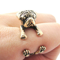 3D Pug Puppy Dog Shaped Animal Wrap Around Ring in Shiny Gold | Sizes 4 to 8.5