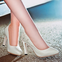 Embossed Leather Women Pumps High Heels Spike Shoes Woman