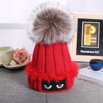 Winter Autumn Fashion Women Wool Knitted Caps  High Quality Furry Ball Design Knitted  Hats For Women and Girl Gift