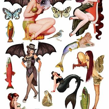 mermaid and fairy fantasy pin up girls clip art collage sheet