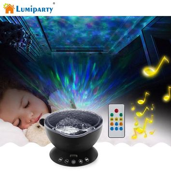 LumiParty Ocean Wave Music Projector LED Night Light Soothing Wave Ceiling Lamp with Speaker and Remote control for Nursery Room