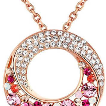"""Twin Moons Rose Gold Plated Multi-Stone Blue & Green Swarovski Elements Crystal Twisted Circle Pendant Necklace - Chain 18"""" + 2"""" Extender"""