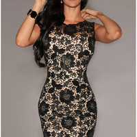 Black Cutout Lace Sleeveless Bodycon Dress