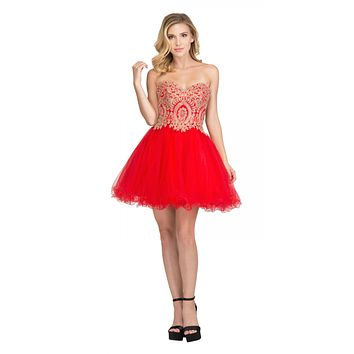 Starbox USA S6411 Strapless Neckline Applique Bodice Homecoming Dress Red/Gold