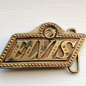 Vintage Elvis Belt Buckle 1970's Music Elivis Presley Rock Souvenir Brass Tone The King