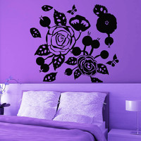 Flower Wall Decals Rose Butterfly Flowering Blossom Stickers Living Room Decor Vinyl Decal Sticker Art Mural Bedroom Kids Room Decor MR327