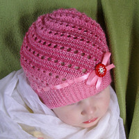 Lovely spring-autumn toddler hat for a little Thumbelina,Knit girl hat,Kids knit hat,Pink knit hat,Knit beanie for girls