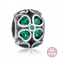 GREEN Lucky FOUR-LEAF Bead / Charm 925 Sterling Silver Authentic fit Pandora Bracelet