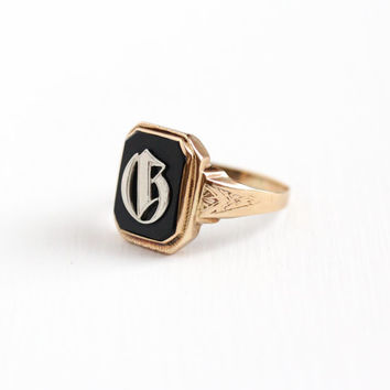 Vintage 10k Rosy Yellow Gold Initial Letter G Signet Ring - Art Deco 1920s Size 11 Black Onyx Men's Statement Monogram Fine Jewelry
