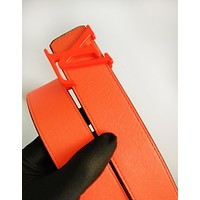 LV fashion hot selling belt for men and women printed color belt patchwork LV print+Orange