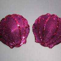 Large purple glitter and sequins  seashell pasties