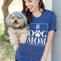 #Dog Mom Short Sleeve Navy Tee Shirt
