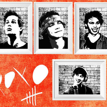5 SOS print - 5 seconds of summer wall decor poster - Luke Hemmings - Ashton Irwin - Michael Clifford - Calum Hood