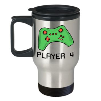 Video Gamer Travel Mug ~ Player 4 ~ Green Game Controller