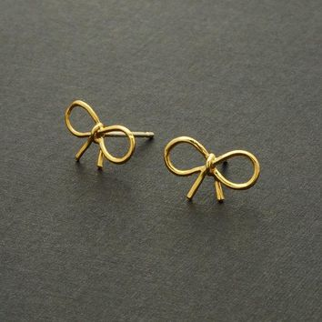 10pcs Gold Silver and Rose Gold Fashion Jewelry Tiny Bow Stud Earrings Dainty Knot Ribbon Earrings for Women Free Shipping ED055