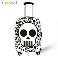 Skeleton Print Luggage Cover Cool Skull Suitcase Cover High Elastic Dust Protective Covers for 18-28 Inch Suitcase Baggage Set