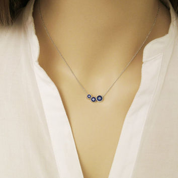 Three Sisters Necklace / Three Evil Eye Necklace / Silver Evil Eye Jewelry / Family / Gift for Mommy / Three Kids Mothers Necklace / N305a
