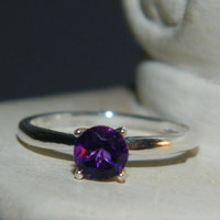 Natural Amethyst Ring, African Amethyst In Sterling Silver