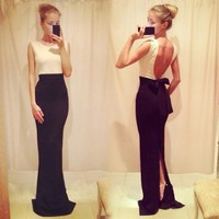 Backless Sleeveless Bodycon Slim Fitting Formal Long Dress