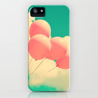 iPhone 5 Case, iPhone 5, Iphone 4, Samsung Galaxy S3, S2, colorful, pink turquoise, blue sky, balloons, accessory, retro, summer autumn